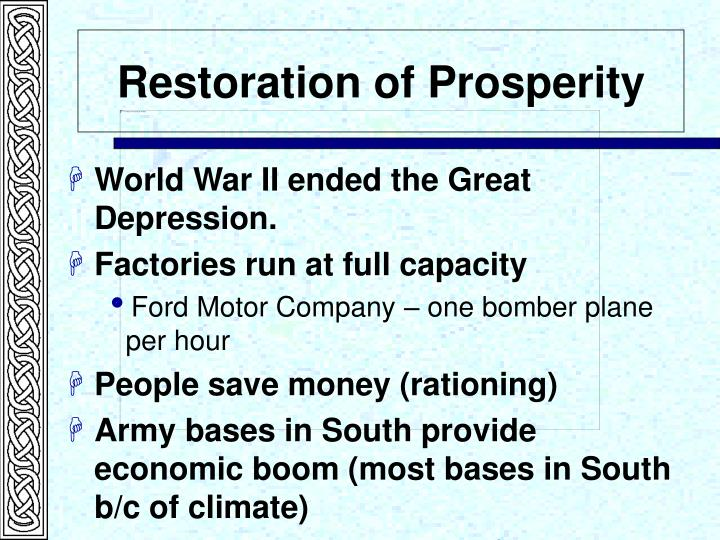 Restoration of Prosperity