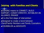 joining with families and clients
