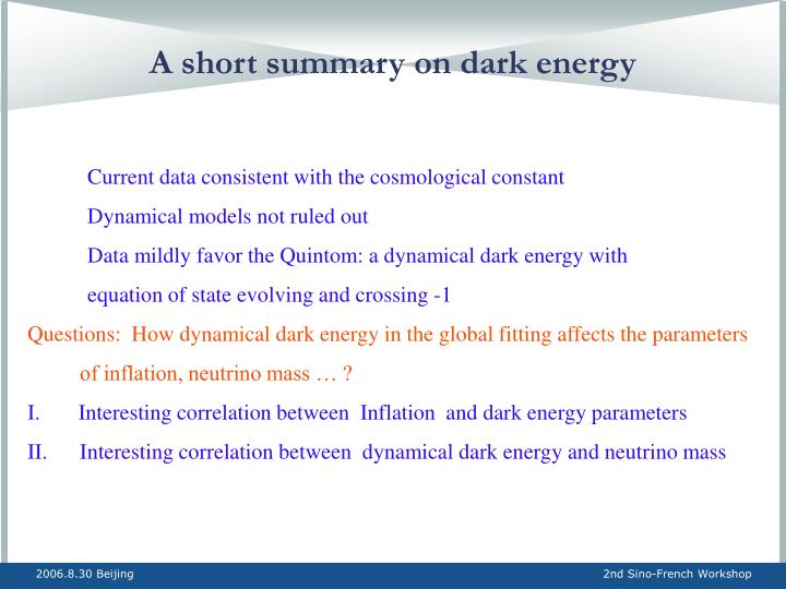 A short summary on dark energy