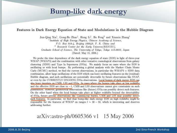 Bump-like dark energy