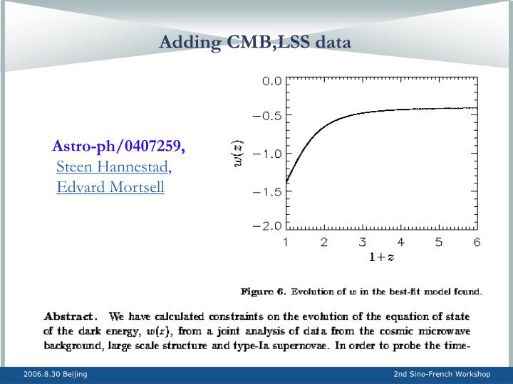 Adding CMB,LSS data