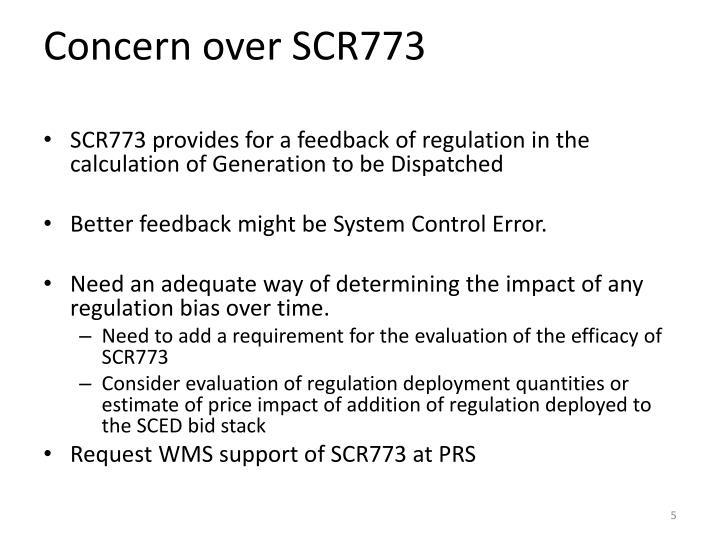 Concern over SCR773