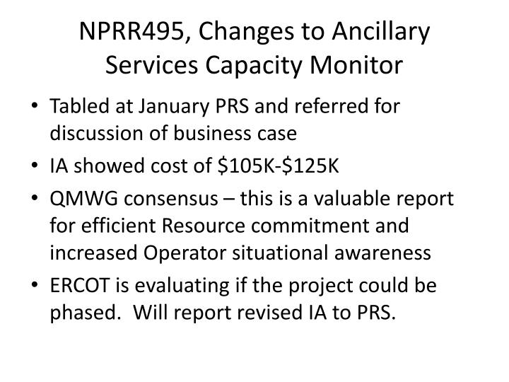 NPRR495, Changes to Ancillary Services Capacity Monitor