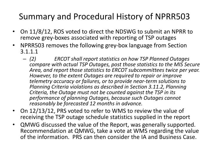 Summary and Procedural History of NPRR503