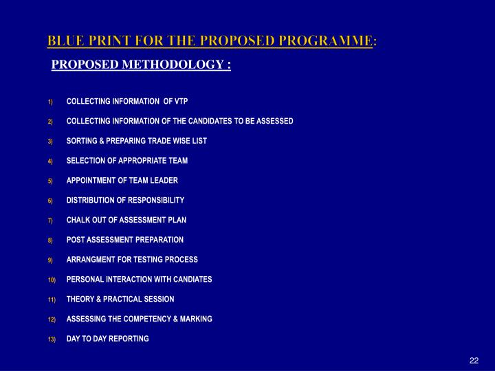 BLUE PRINT FOR THE PROPOSED PROGRAMME