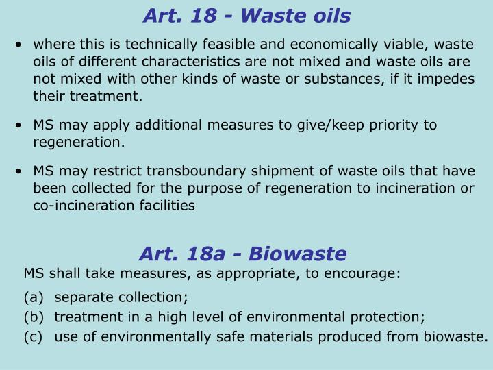 Art. 18 - Waste oils