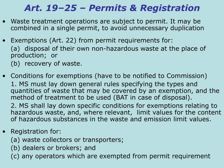 Art. 19–25 – Permits & Registration