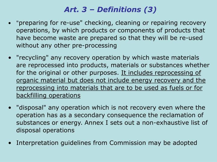 Art. 3 – Definitions (3)