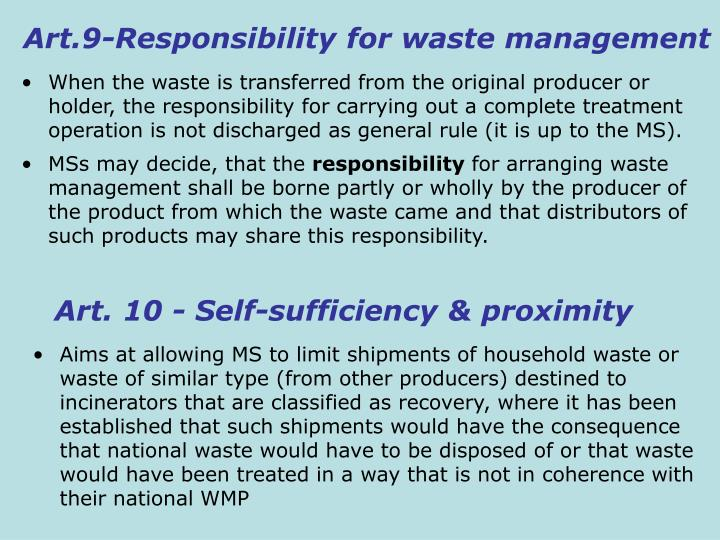 Art.9-Responsibility for waste management