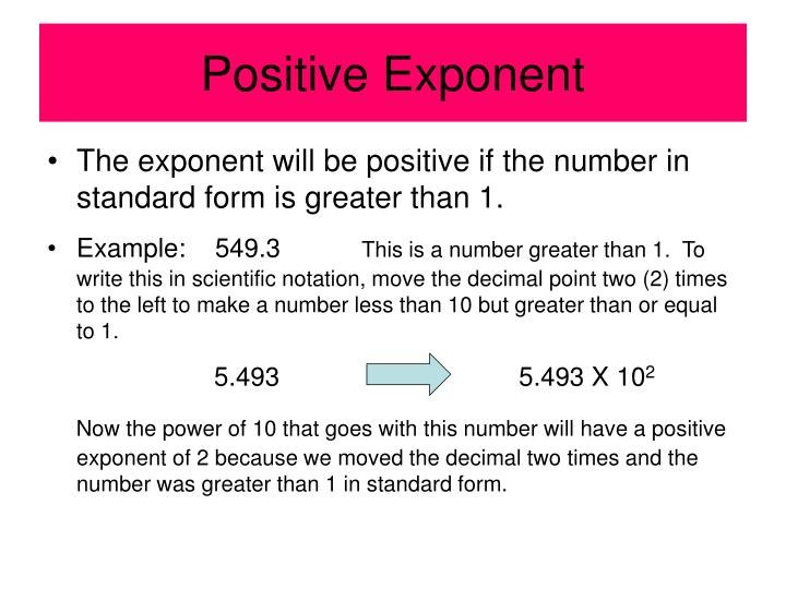 Positive exponent