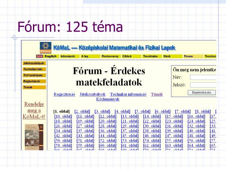 Fórum: 125 téma