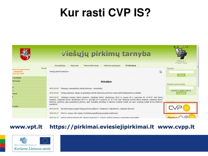 Kur rasti CVP IS?