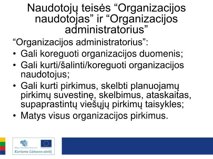"""Naudotojų teisės """"Organizacijos naudotojas"""" ir """"Organizacijos administratorius"""""""