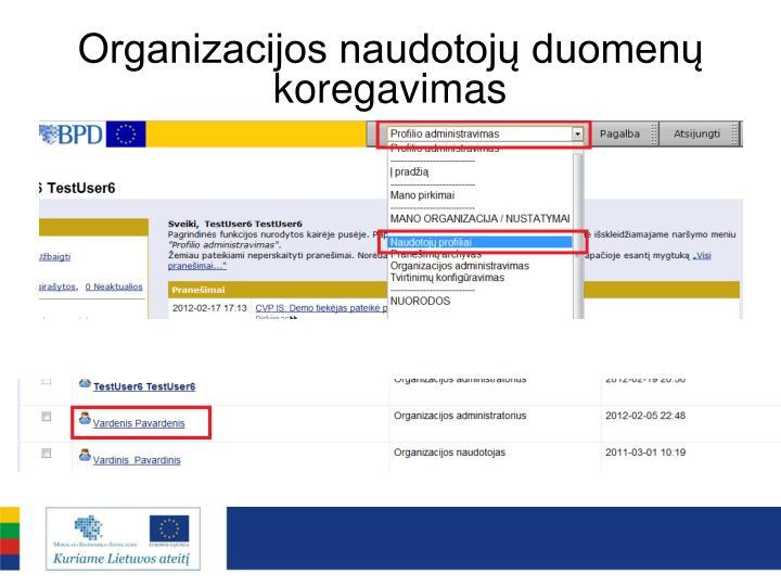 Organizacijos naudotojų duomenų koregavimas