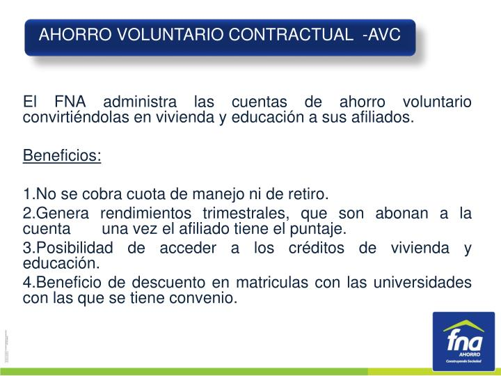AHORRO VOLUNTARIO CONTRACTUAL  -AVC