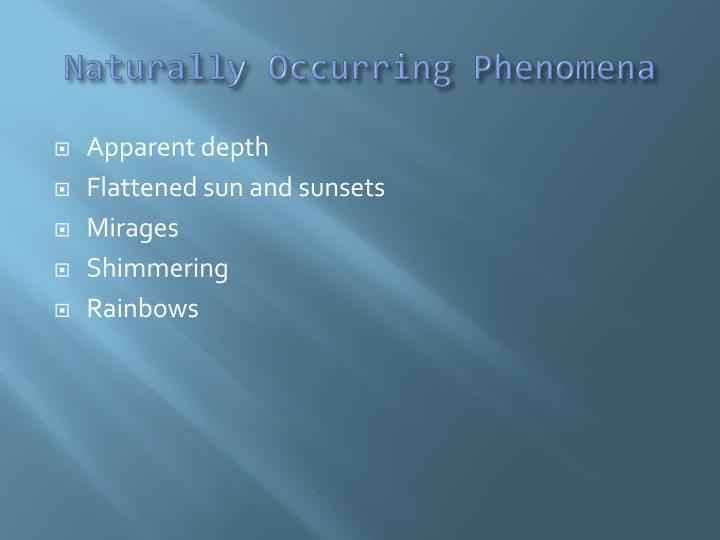 Naturally occurring phenomena