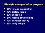 lifestyle changes after program