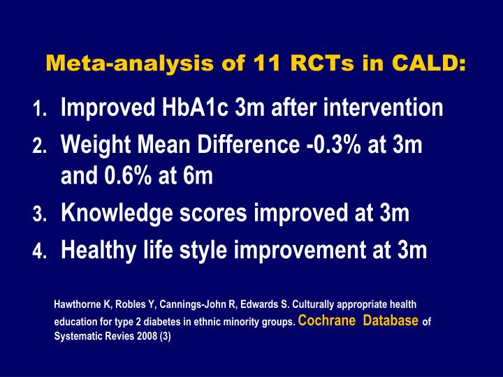 Meta-analysis of 11 RCTs in CALD: