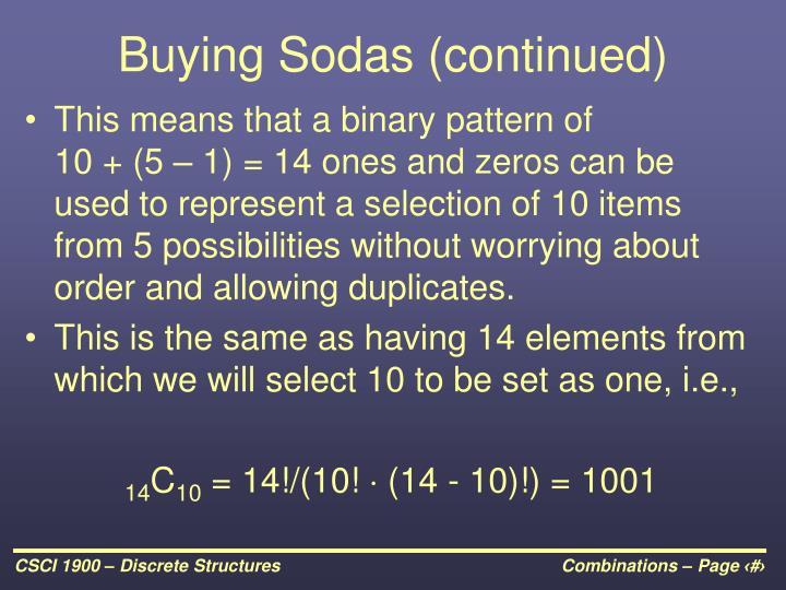 Buying Sodas (continued)