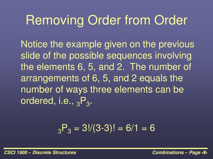 Removing Order from Order