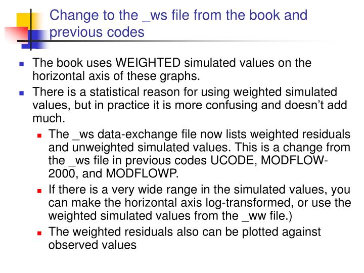 Change to the _ws file from the book and previous codes