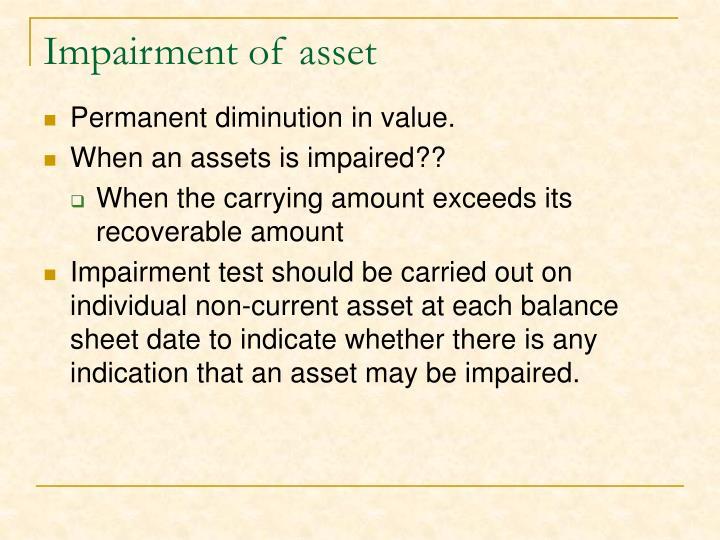 Impairment of asset