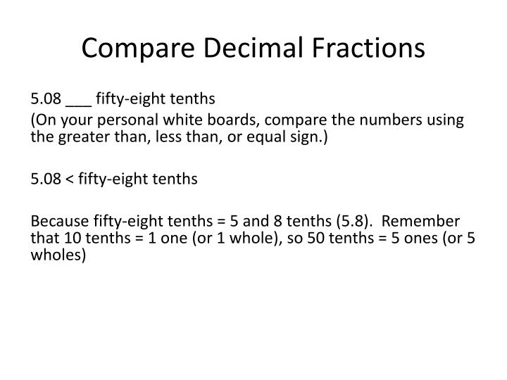 Compare Decimal Fractions
