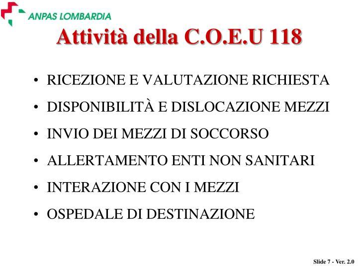Attività della C.O.E.U 118