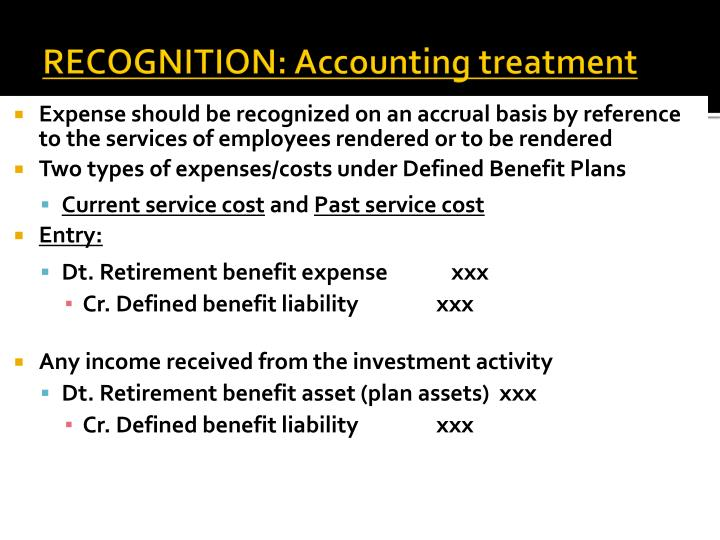 RECOGNITION: Accounting treatment