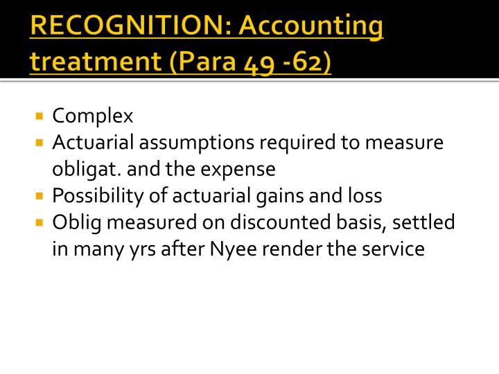 RECOGNITION: Accounting treatment (Para 49 -62)