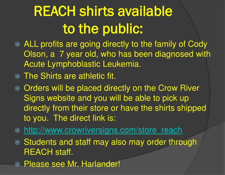 REACH shirts available