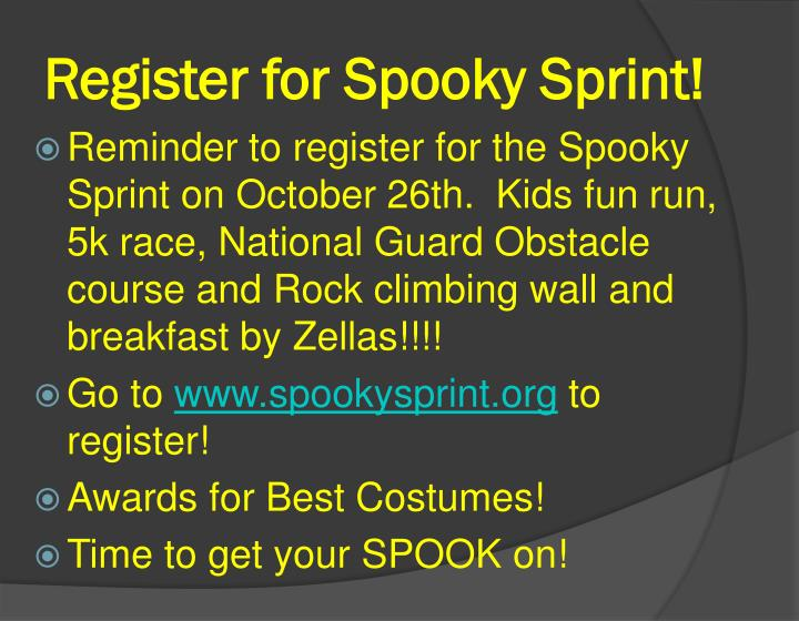 Register for Spooky Sprint!