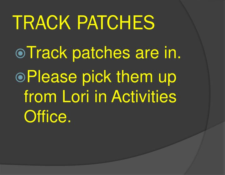 TRACK PATCHES