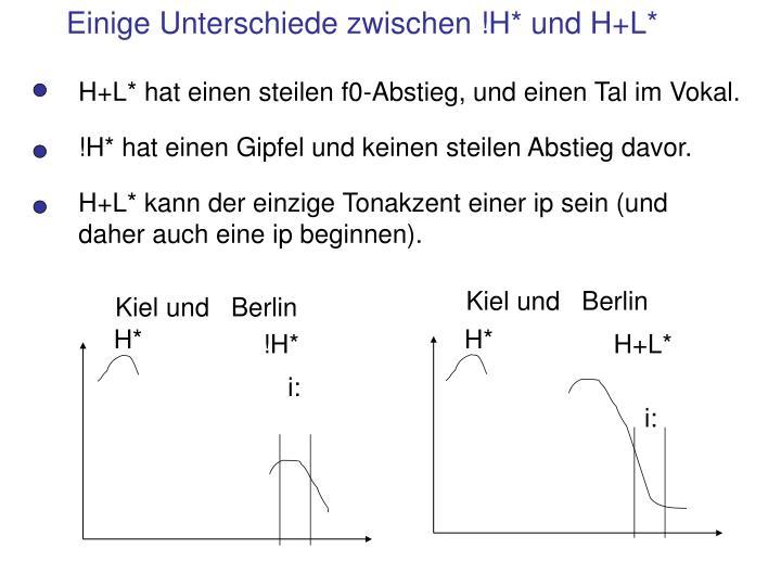 Einige Unterschiede zwischen !H* und H+L*