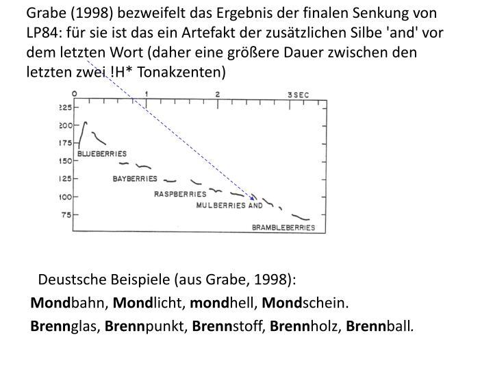 Grabe (1998) bezweifelt das Ergebnis der finalen Senkung von LP84: für sie ist das ein Artefakt der zusätzlichen Silbe 'and' vor dem letzten Wort (daher eine größere Dauer zwischen den letzten zwei !H* Tonakzenten)