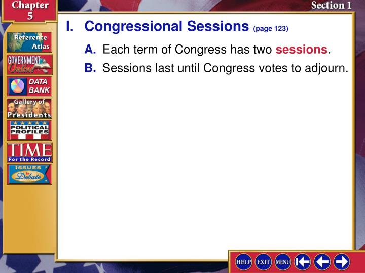 I.Congressional Sessions