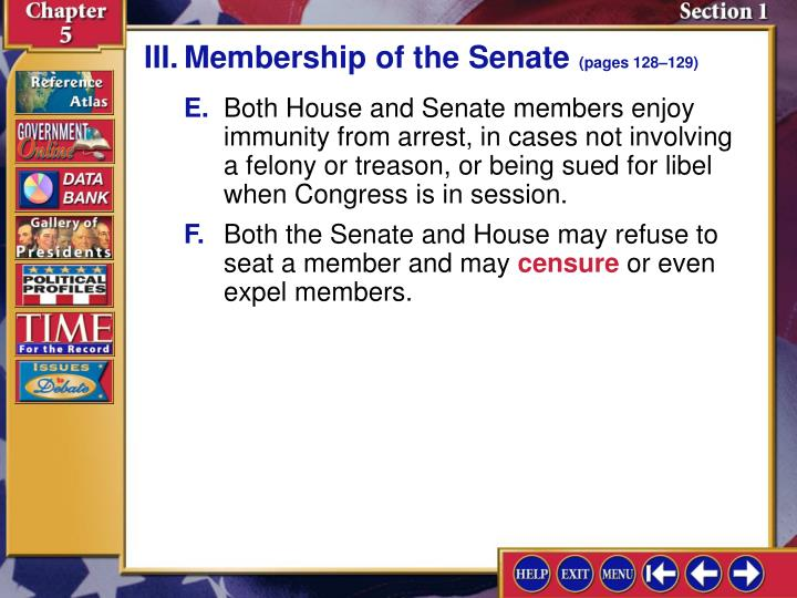 III.Membership of the Senate