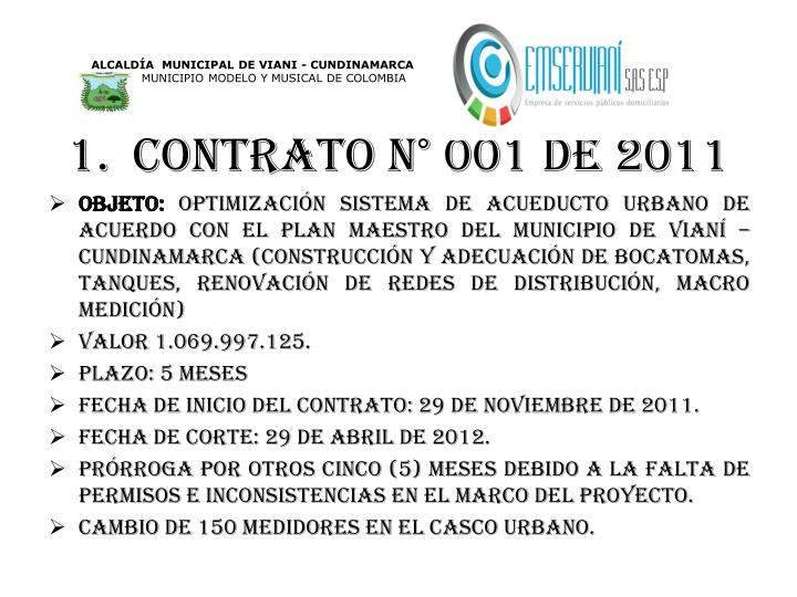 CONTRATO N° 001 DE 2011