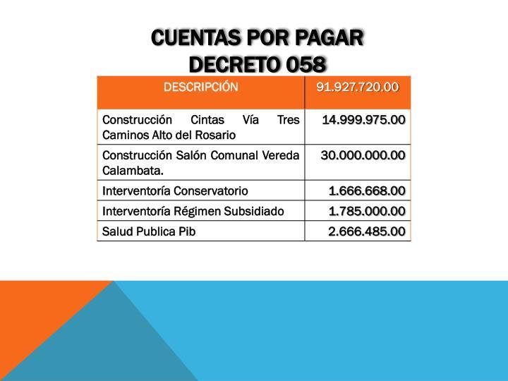 Cuentas por pagar decreto 058