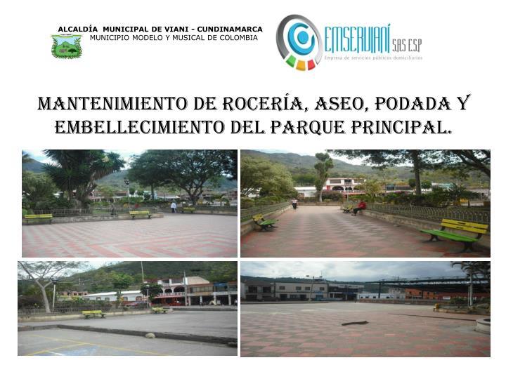 Mantenimiento de rocería, aseo, podada y embellecimiento del parque principal.