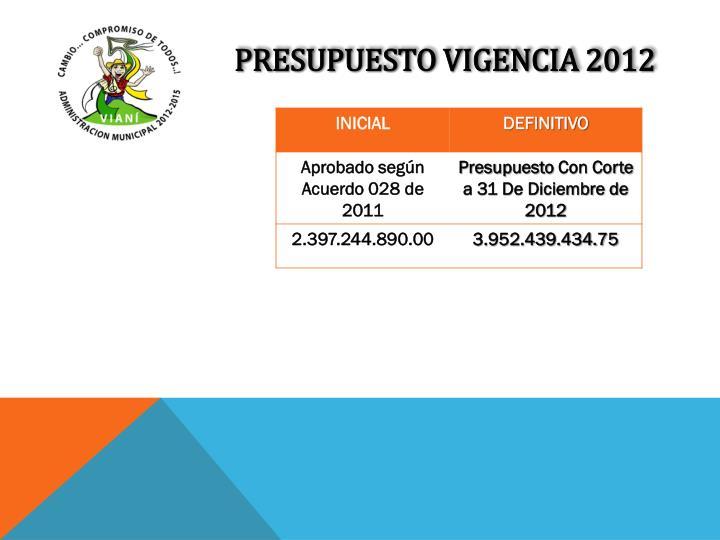 PRESUPUESTO VIGENCIA 2012
