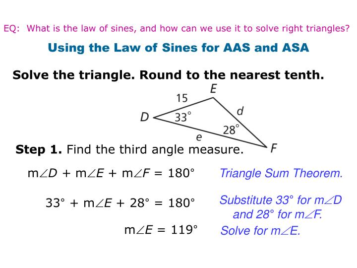 EQ:  What is the law of sines, and how can we use it to solve right triangles?