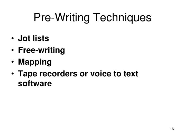 Pre-Writing Techniques