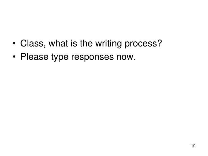 Class, what is the writing process?