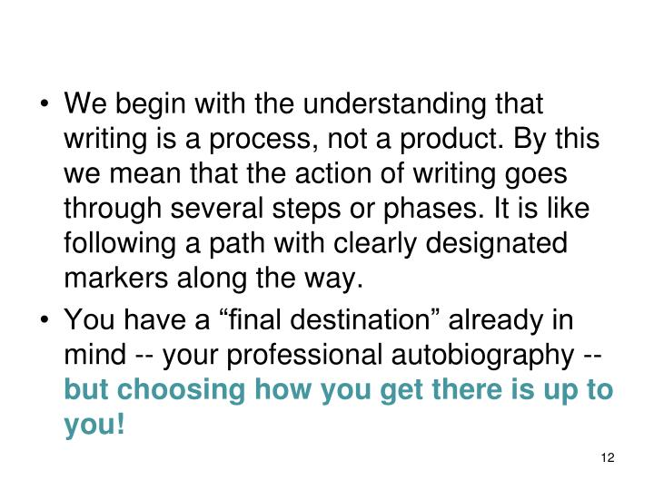 We begin with the understanding that writing is a process, not a product. By this we mean that the action of writing goes through several steps or phases. It is like following a path with clearly designated markers along the way.