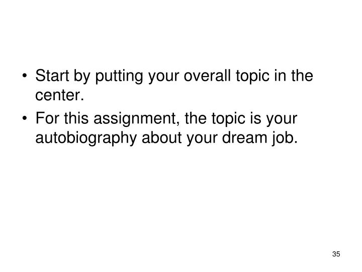 Start by putting your overall topic in the center.