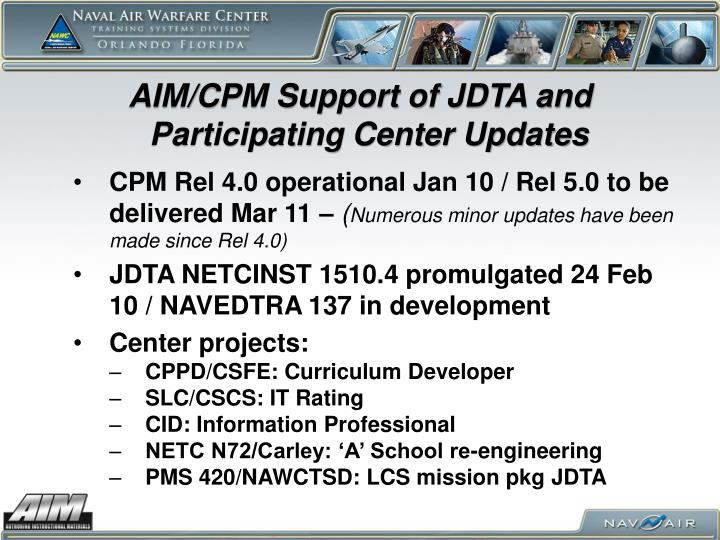 AIM/CPM Support of JDTA and Participating Center Updates