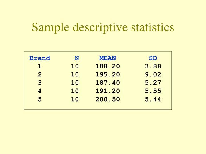 Sample descriptive statistics