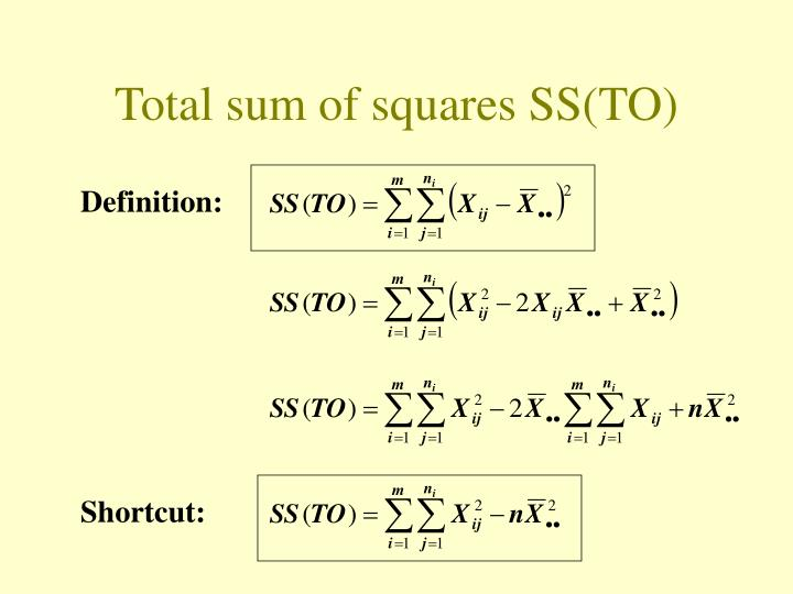 Total sum of squares SS(TO)