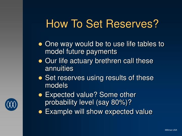 How To Set Reserves?
